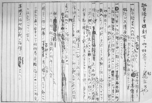 Draft of the rules written by Jigoro Kano for the first Red and White Judo Tournament held in 1884
